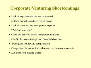 Corporate Venturing Shortcomings