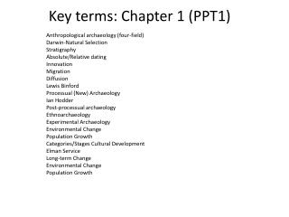 Key terms: Chapter 1 PPT1