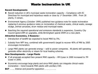 Waste Incineration in UK