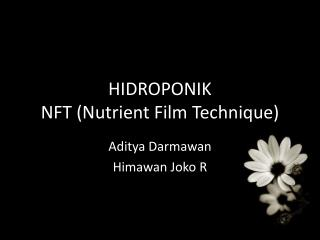 HIDROPONIK NFT (Nutrient Film Technique)