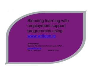 Blending learning with employment support  programmes using   writeon.ie