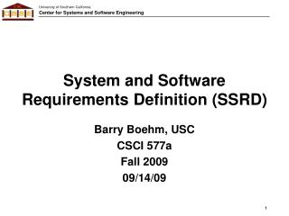 System and Software Requirements Definition (SSRD)
