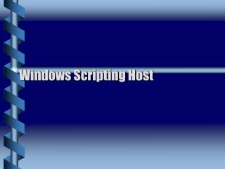 Windows Scripting Host
