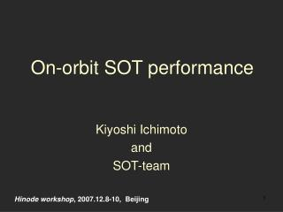 On-orbit SOT performance
