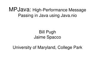MPJava :  High-Performance Message Passing in Java using Java.nio