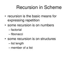 Recursion in Scheme