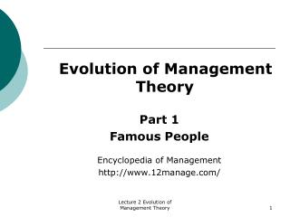 Evolution of Management Theory Part 1 Famous People  Encyclopedia of Management