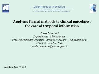 Applying formal methods to clinical guidelines:  the case of temporal information