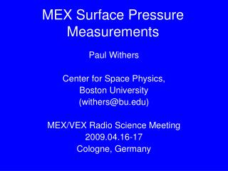 MEX Surface Pressure Measurements