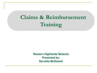 Claims & Reimbursement  Training