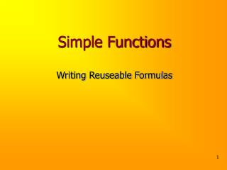 Simple Functions