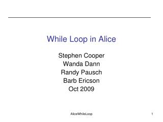 While Loop in Alice