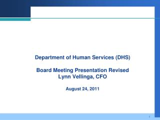 Department of Human Services (DHS) August Board Meeting