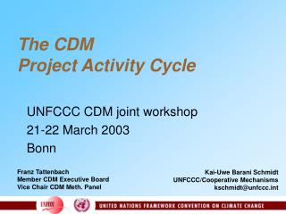 The CDM  Project Activity Cycle