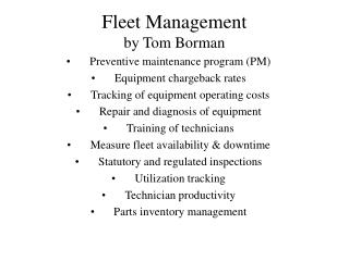 Fleet Management by Tom Borman