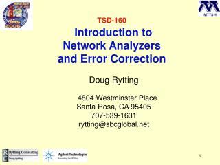 TSD-160  Introduction to Network Analyzers and Error Correction
