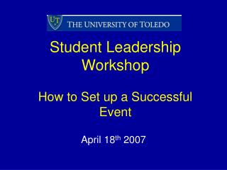 Student Leadership Workshop How to Set up a Successful Event