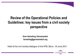 Review of the Operational Policies and Guidelines: key issues from a civil society perspective