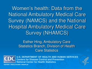 Esther Hing, Ambulatory Care Statistics Branch, Division of Health Care Statistics