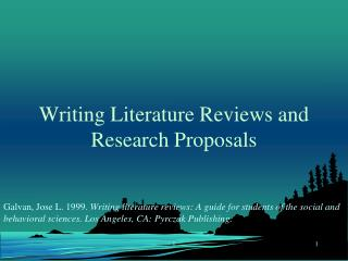 Writing Literature Reviews and Research Proposals