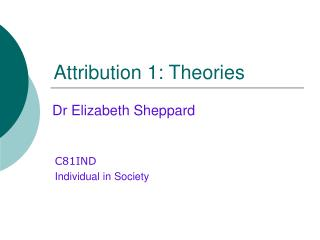 Attribution 1: Theories