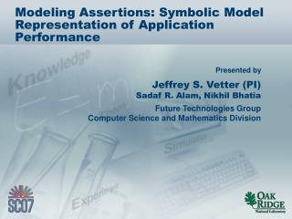 Modeling Assertions: Symbolic Model Representation of Application Performance