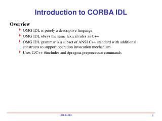 Introduction to CORBA IDL