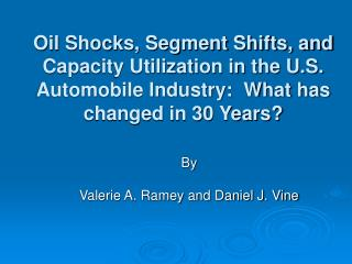 Oil Shocks, Segment Shifts, and Capacity Utilization in the U.S. Automobile Industry:  What has changed in 30 Years?