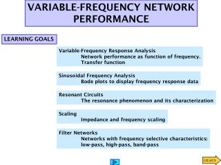 Variable-Frequency Response  Analysis 	Network performance as function of frequency.