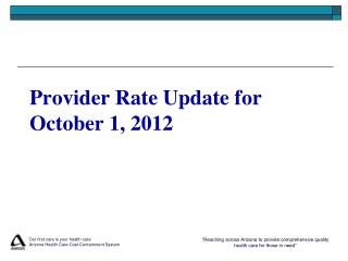 Provider Rate Update for October 1, 2012