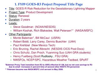 1. FY09 GOES-R3 Project Proposal Title Page