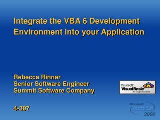 Integrate the VBA 6 Development Environment into your Application