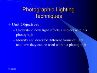 Photographic Lighting Techniques
