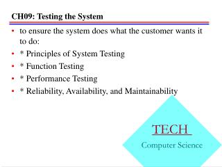 CH09: Testing the System