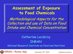 Assessment of Exposure  to Food Chemicals