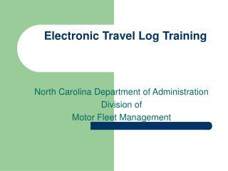 Electronic Travel Log Training