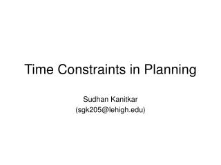 Time Constraints in Planning