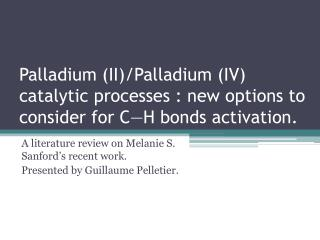 A literature review on Melanie S. Sanford's recent work. Presented by Guillaume Pelletier.