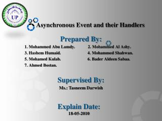 Asynchronous Event and their Handlers