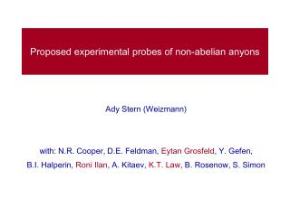 Proposed experimental probes of non-abelian anyons