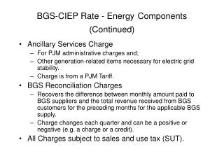 BGS-CIEP Rate - Energy Components  (Continued)