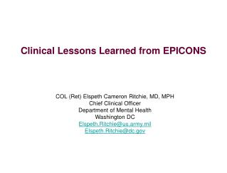 Clinical Lessons Learned from EPICONS