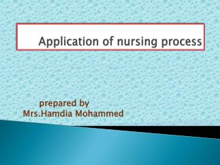 Application of nursing process