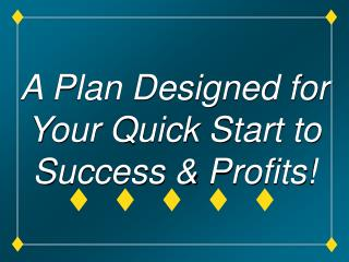 A Plan Designed for Your Quick Start to Success & Profits!