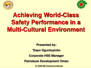 Achieving World-Class Safety Performance in a Multi-Cultural Environment