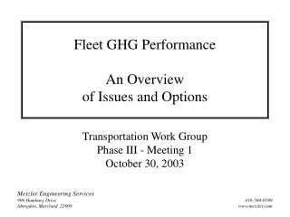 Fleet GHG Performance An Overview of Issues and Options