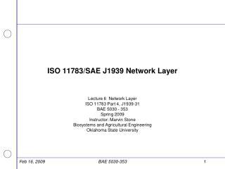 ISO 11783/SAE J1939 Network Layer