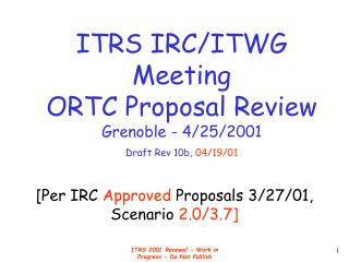 [Per IRC  Approved  Proposals 3/27/01, Scenario  2.0/3.7]