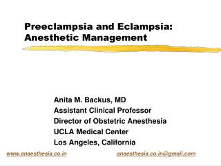 Preeclampsia and Eclampsia: Anesthetic Management