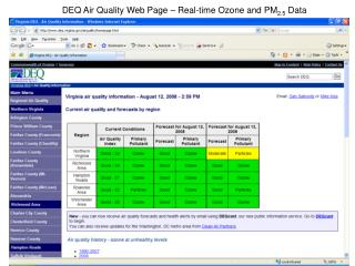 DEQ Air Quality Web Page – Real-time Ozone and PM 2.5  Data